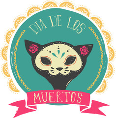 print - mexican cat skull, day of the dead