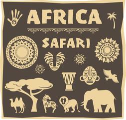 Africa, Safari icon and element set
