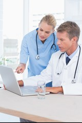 Doctor and nurse working with computer