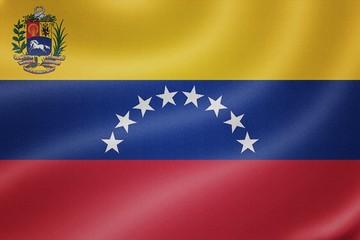 Venezuela flag on the fabric texture background