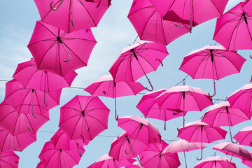 Pink umbrellas in the air
