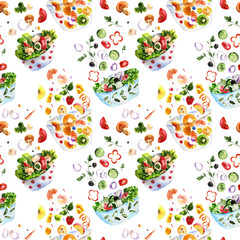 Seamless pattern with salad. Watercolor illustration
