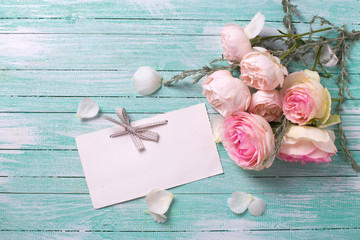 Postcard with rose  flowers and empty tag for your text