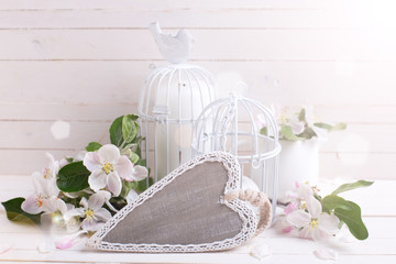 Background  with decorative heart, apple blossom, candles