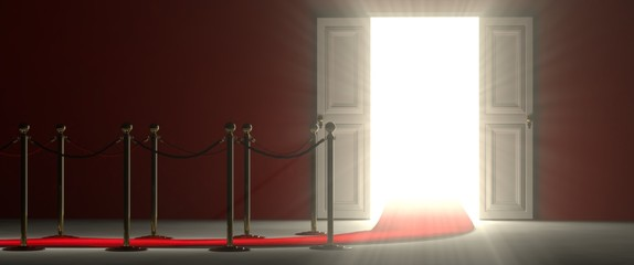 White open door - an easy way to success. Beyond the glorious door there is a white illuminated environment that projects its light in front of you.