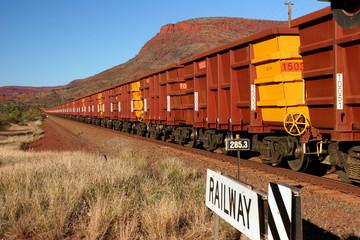 Hamersley Iron Ore Train with Hundreds of Carriages Hamersley Ranges Pilbara Western Australia