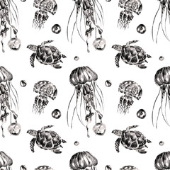 Seamless pattern with jellyfish and turtles. Watercolor illustration.