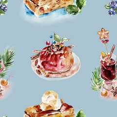Seamless dessert pattern. Watercolor illustration.