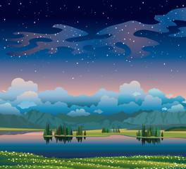 Zelfklevend Fotobehang Groen blauw Summer hight landscape with lake, forest and mountains.