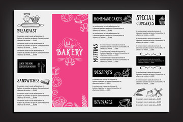 Bread and bakery restaurant  menu, template design. Food flyer.