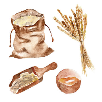 Isolated set with bread, flour, wheat. Watercolor illustration