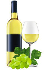 White wine bottle with a glass and grapes. EPS10 photo-realistic vector illustration.