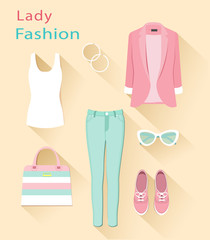 Flat design concept of fashion look. Woman clothing set. Trendy clothes objects