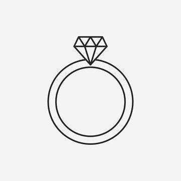 diamond ring line icon