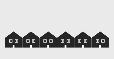 Several attached houses silhouettes, vector design