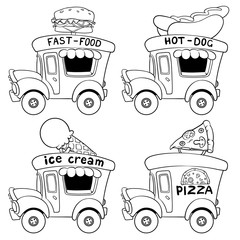 Cartoon fast-food cars outlined on a white background