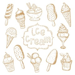 Hand drawing set of ice cream