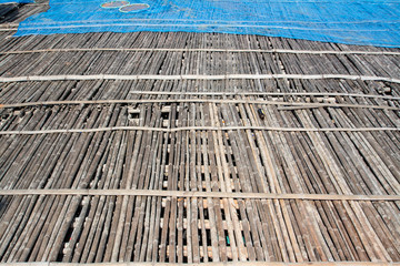 bamboo floor in the place for making Shrimp paste under the sun, Thail  agriculture