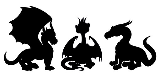 Collection of silhouettes of illustrations of fantasy or fairytale dragons, isolated on a white background