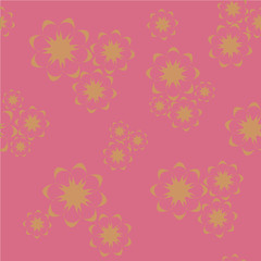 Vector seamless pattern with colorful golden flowers on a pink b