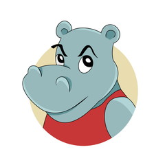 Illustration of a head of cute smiling hippopotamus, isolated on a white background