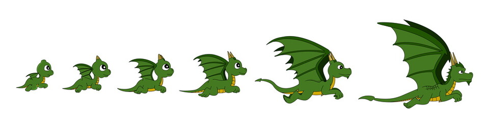 Illustration of a growing dragon through different age stages, from baby dragon to adult, isolated on white background, can be assembled into animation