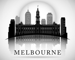 Modern Melbourne City Skyline Design. Australia