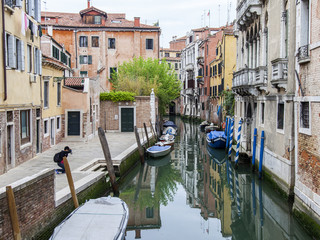 VENICE, ITALY. Picturesque urban view. The canal embankment