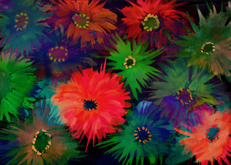 Colorful child's drawing of flower pattern
