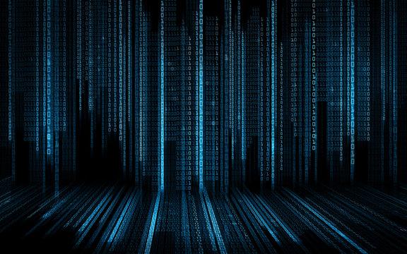 black blue binary system code background