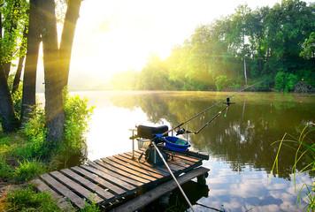 Foto auf Leinwand Fluss Fishing on river