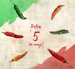 5th of May greeting card, with the text saying 'Feliz cinco de mayo'