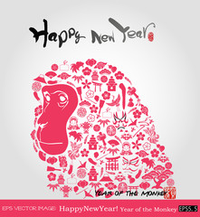 eps Vector image:Happy New Year! Year of the Monkey