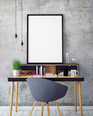 mock up poster frame in workspace interior