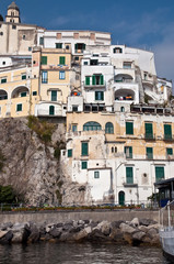 Houses in Amalfi coast in the Tyrrhenian Sea