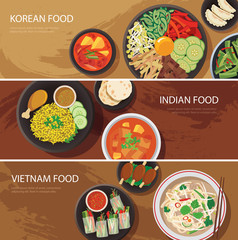 asia street food web banner , korean food , indian food , vietna