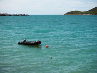 rubber boat in the sea