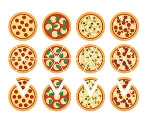 Set of flat pizza icons isolated on white: whole, cut, and with separete slice. Four varieties: pepperoni, Margherita, vegetarian and mixed.