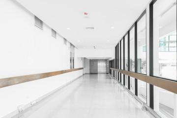 Empty hallway in the modern hospital