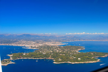 view of the french riviera, Cap Antibes, cote D'azure coast line from the sky