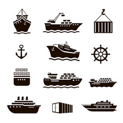 Set of transportation and shipping icons. Container, tanker