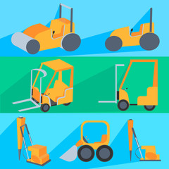 Set flet construction machinery. Roller-stacker, forklift, drill