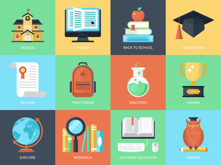 Flat modern icons for education and knowledge
