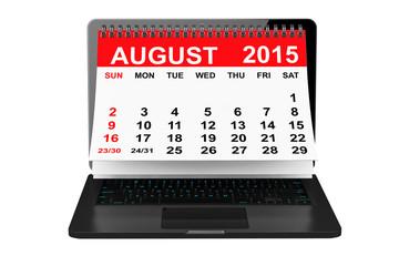 August 2015 calendar over laptop screen