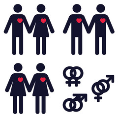 a set of icons representing heterosexual and homosexual relationships