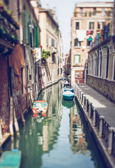 Aluminium Prints Venice Tilt shift photo of Venice street. Soft focuse
