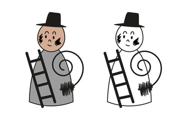 Figure of chimney sweep for coloring book.