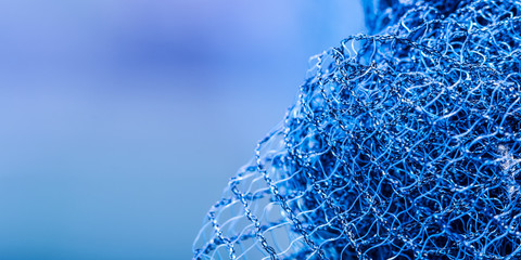 Blue fishnet, macro photography.