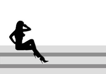 Mujer, escaleras, desnudo, silueta, zapatos de tacón, ilustración, fondo