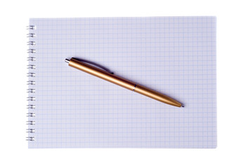 pen on notebook isolated on white background
